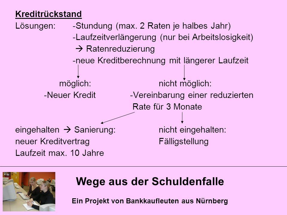 Wege aus der Schuldenfalle Ein Projekt von Bankkaufleuten aus Nürnberg Kreditrückstand Lösungen:-Stundung (max. 2 Raten je halbes Jahr) -Laufzeitverlä