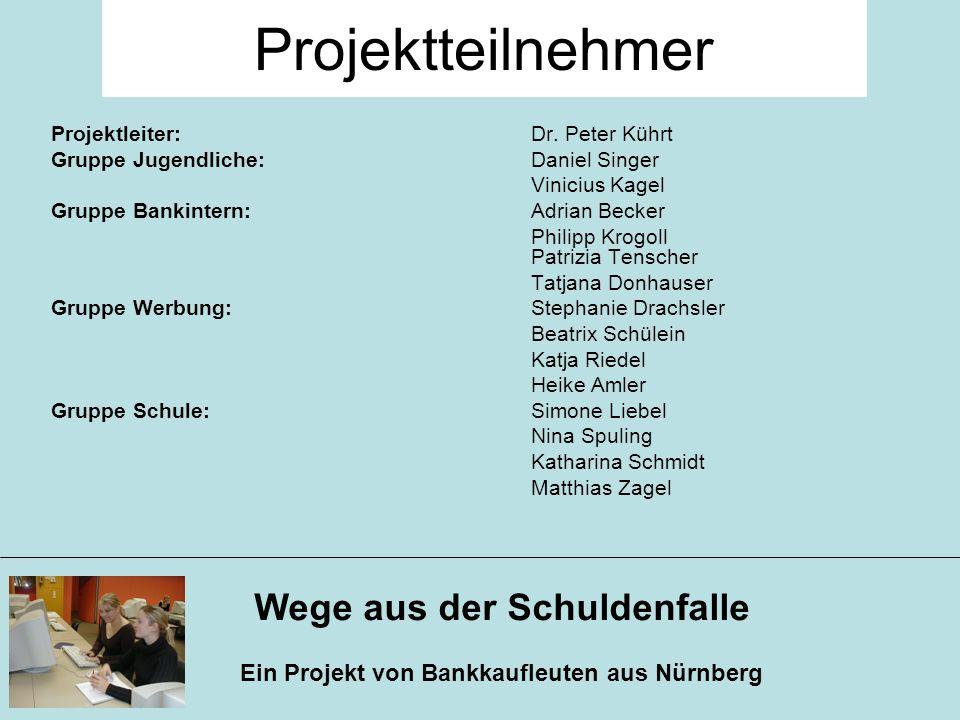Wege aus der Schuldenfalle Ein Projekt von Bankkaufleuten aus Nürnberg Projektleiter: Dr. Peter Kührt Gruppe Jugendliche: Daniel Singer Vinicius Kagel