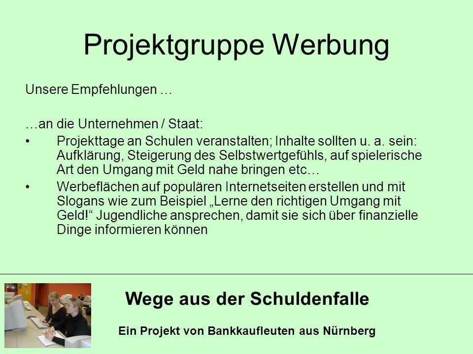 Wege aus der Schuldenfalle Ein Projekt von Bankkaufleuten aus Nürnberg Projektgruppe Werbung Unsere Empfehlungen … …an die Unternehmen / Staat: Projek