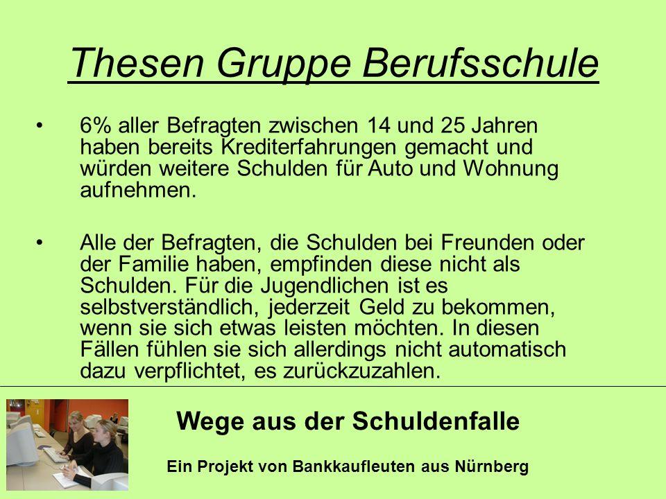 Wege aus der Schuldenfalle Ein Projekt von Bankkaufleuten aus Nürnberg Thesen Gruppe Berufsschule 6% aller Befragten zwischen 14 und 25 Jahren haben b