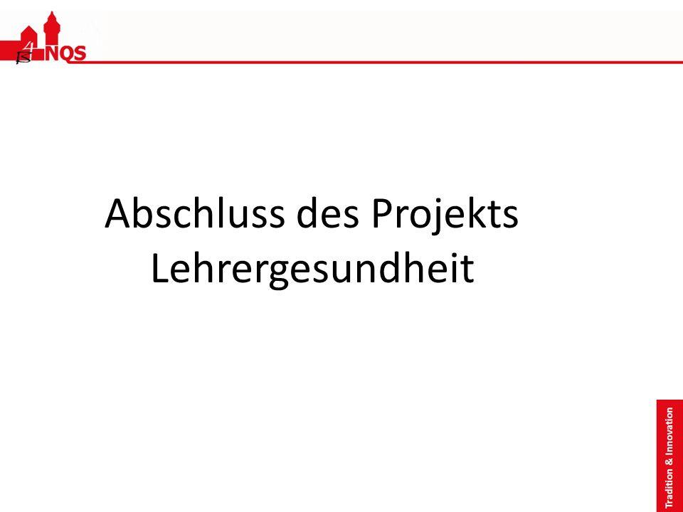 Abschluss des Projekts Lehrergesundheit
