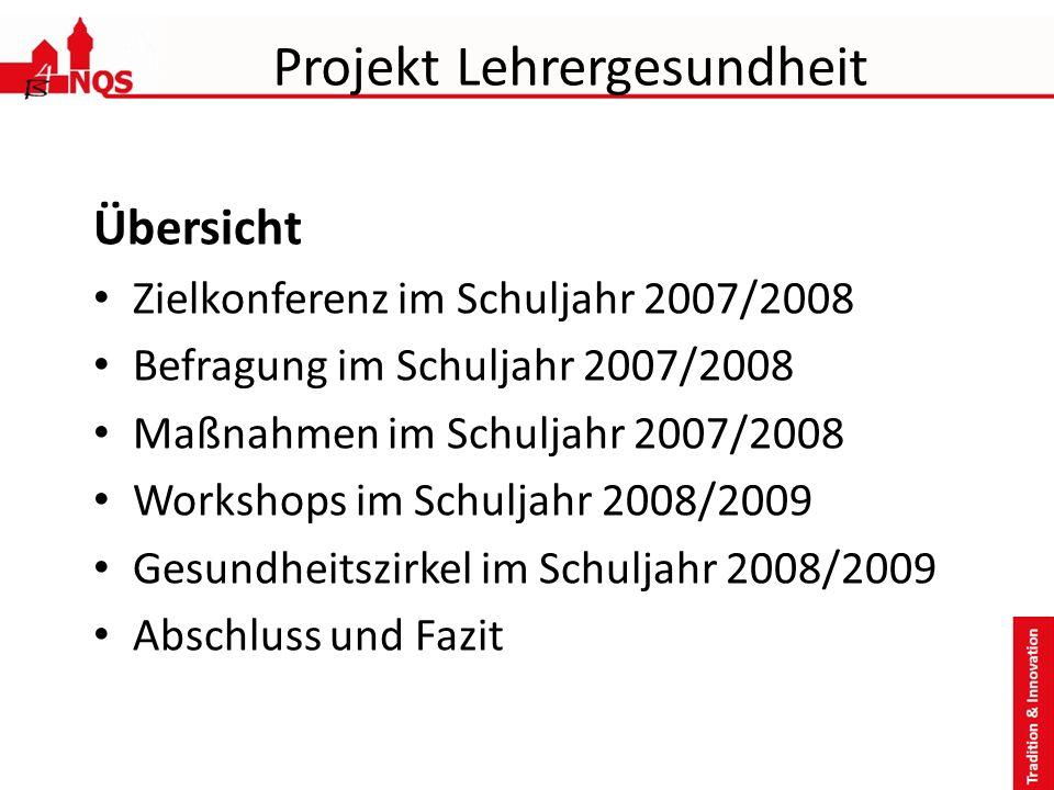 Projekt Lehrergesundheit Übersicht Zielkonferenz im Schuljahr 2007/2008 Befragung im Schuljahr 2007/2008 Maßnahmen im Schuljahr 2007/2008 Workshops im