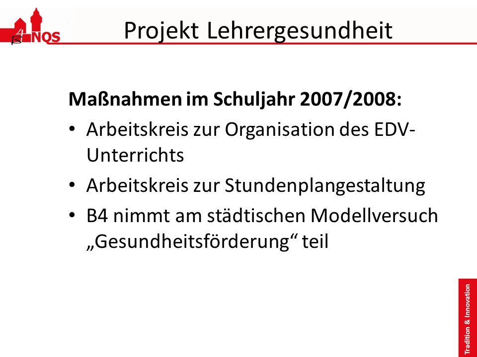 Projekt Lehrergesundheit Maßnahmen im Schuljahr 2007/2008: Arbeitskreis zur Organisation des EDV- Unterrichts Arbeitskreis zur Stundenplangestaltung B4 nimmt am städtischen Modellversuch Gesundheitsförderung teil