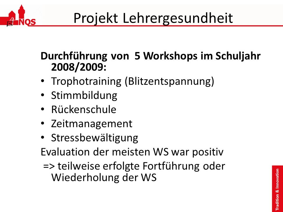 Projekt Lehrergesundheit Durchführung von 5 Workshops im Schuljahr 2008/2009: Trophotraining (Blitzentspannung) Stimmbildung Rückenschule Zeitmanageme