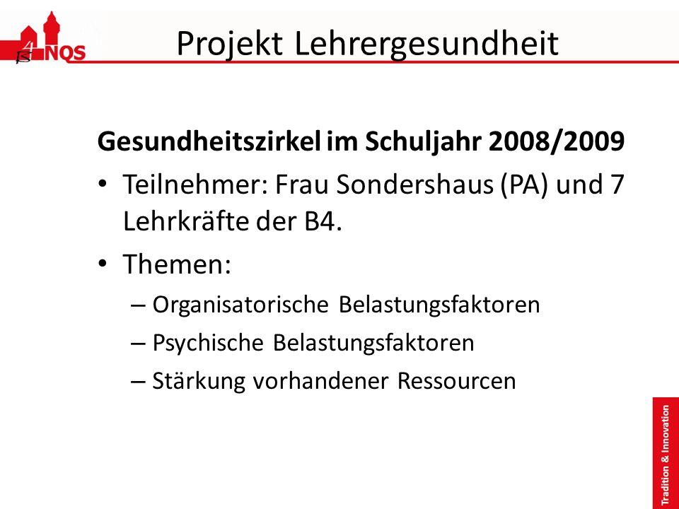 Projekt Lehrergesundheit Gesundheitszirkel im Schuljahr 2008/2009 Teilnehmer: Frau Sondershaus (PA) und 7 Lehrkräfte der B4. Themen: – Organisatorisch