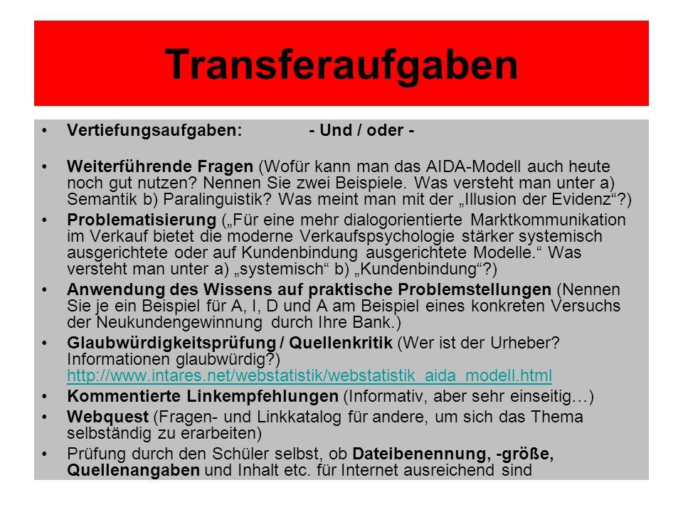 Transferaufgaben Vertiefungsaufgaben: - Und / oder - Weiterführende Fragen (Wofür kann man das AIDA-Modell auch heute noch gut nutzen? Nennen Sie zwei