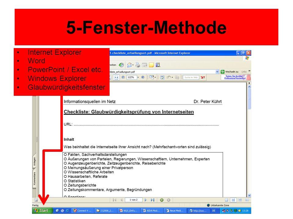 5-Fenster-Methode Internet Explorer Word PowerPoint / Excel etc. Windows Explorer Glaubwürdigkeitsfenster