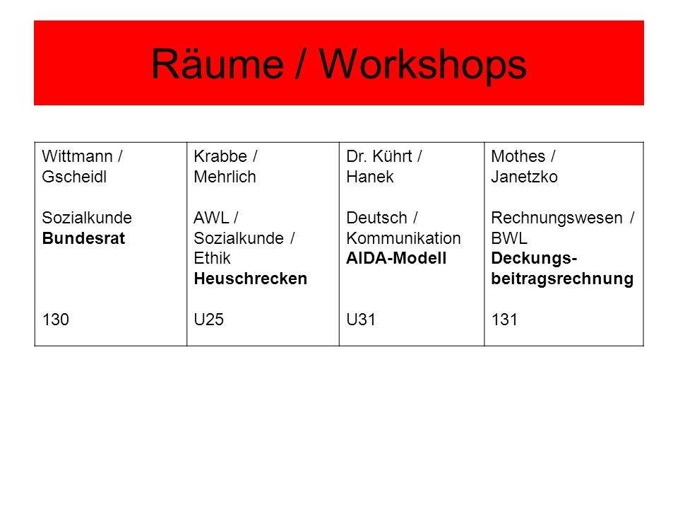 Räume / Workshops Wittmann / Gscheidl Sozialkunde Bundesrat 130 Krabbe / Mehrlich AWL / Sozialkunde / Ethik Heuschrecken U25 Dr. Kührt / Hanek Deutsch
