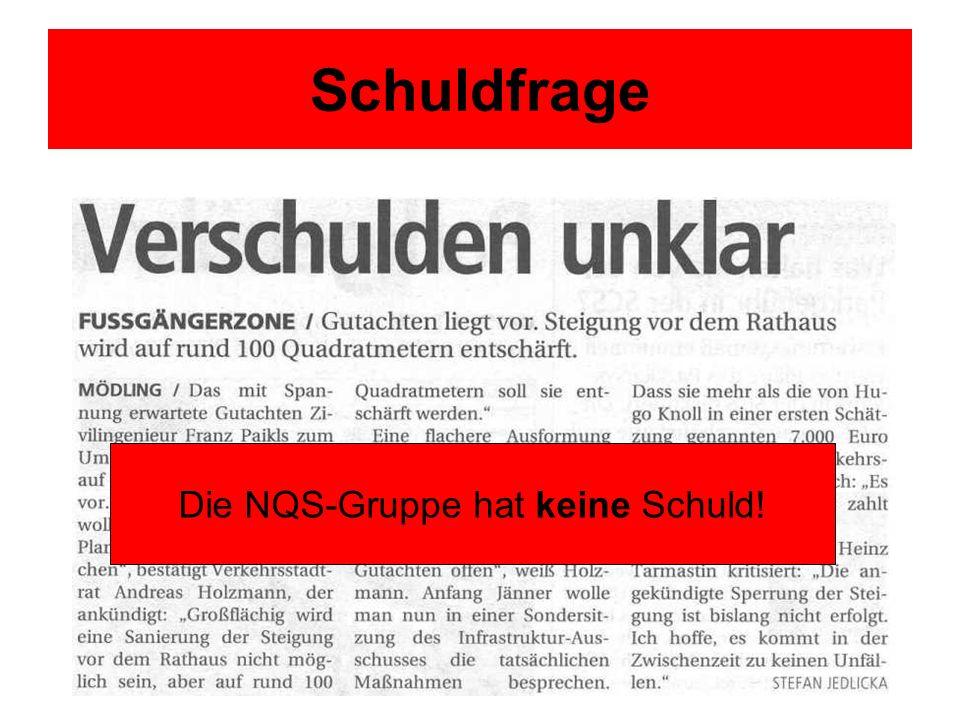 Schuldfrage Die NQS-Gruppe hat keine Schuld!