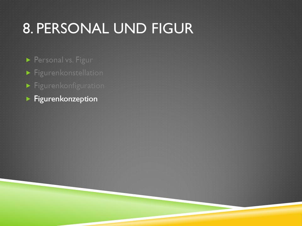 8. PERSONAL UND FIGUR Personal vs. Figur Figurenkonstellation Figurenkonfiguration Figurenkonzeption