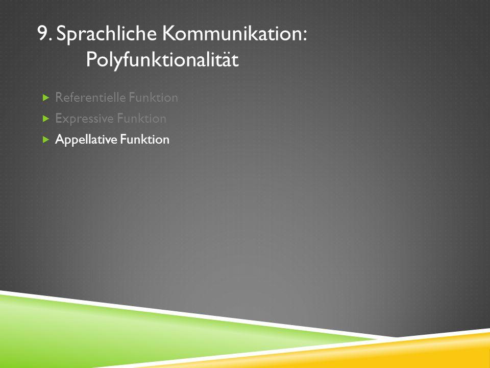 9. Sprachliche Kommunikation: Polyfunktionalität Referentielle Funktion Expressive Funktion Appellative Funktion