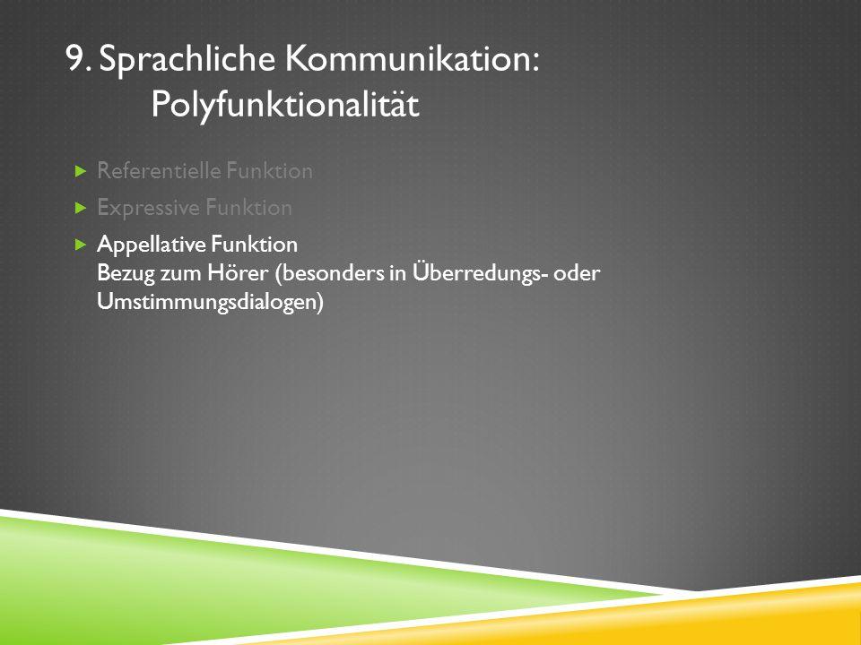 9. Sprachliche Kommunikation: Polyfunktionalität Referentielle Funktion Expressive Funktion Appellative Funktion Bezug zum Hörer (besonders in Überred