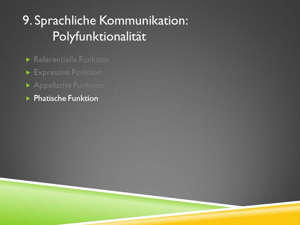 9. Sprachliche Kommunikation: Polyfunktionalität Referentielle Funktion Expressive Funktion Appellative Funktion Phatische Funktion