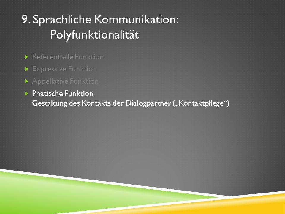 9. Sprachliche Kommunikation: Polyfunktionalität Referentielle Funktion Expressive Funktion Appellative Funktion Phatische Funktion Gestaltung des Kon