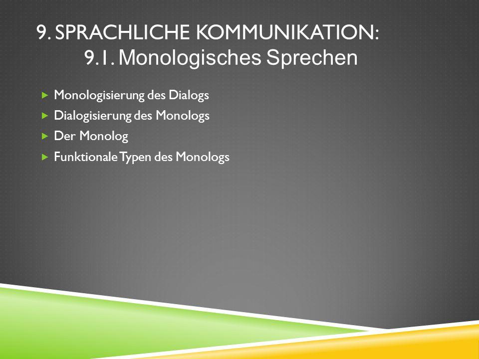 Monologisierung des Dialogs Dialogisierung des Monologs Der Monolog Funktionale Typen des Monologs