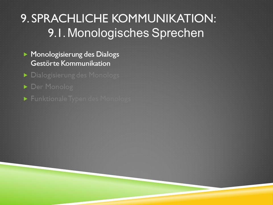 9. SPRACHLICHE KOMMUNIKATION: 9.1. Monologisches Sprechen Monologisierung des Dialogs Gestörte Kommunikation Dialogisierung des Monologs Der Monolog F