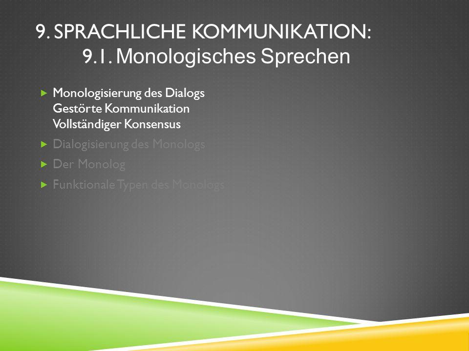 9. SPRACHLICHE KOMMUNIKATION: 9.1. Monologisches Sprechen Monologisierung des Dialogs Gestörte Kommunikation Vollständiger Konsensus Dialogisierung de
