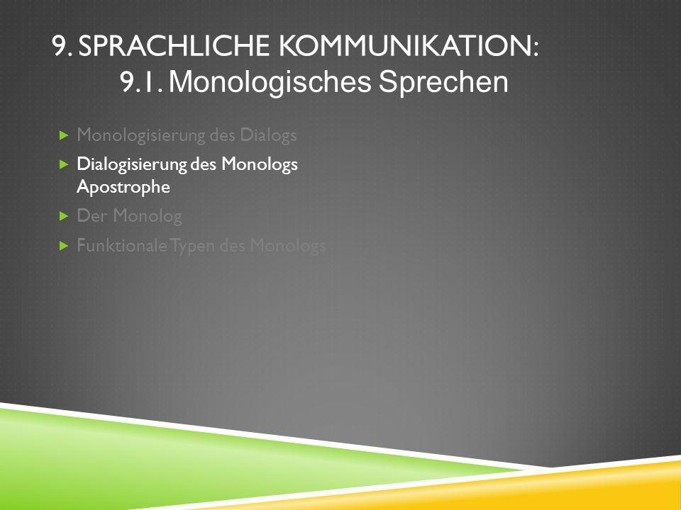 9. SPRACHLICHE KOMMUNIKATION: 9.1. Monologisches Sprechen Monologisierung des Dialogs Dialogisierung des Monologs Apostrophe Der Monolog Funktionale T
