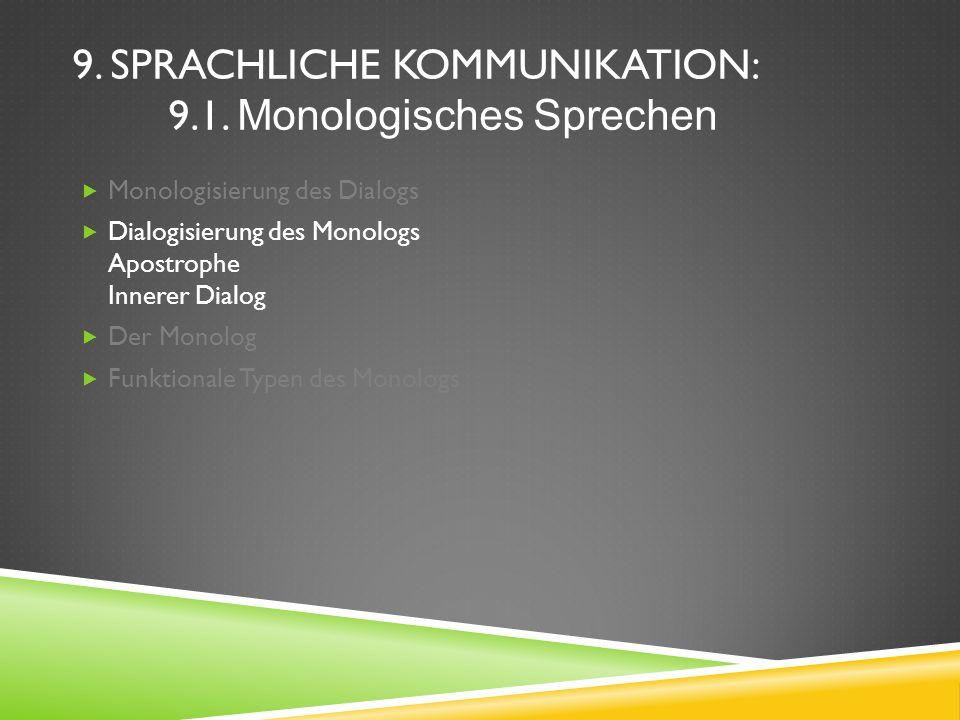 9. SPRACHLICHE KOMMUNIKATION: 9.1. Monologisches Sprechen Monologisierung des Dialogs Dialogisierung des Monologs Apostrophe Innerer Dialog Der Monolo