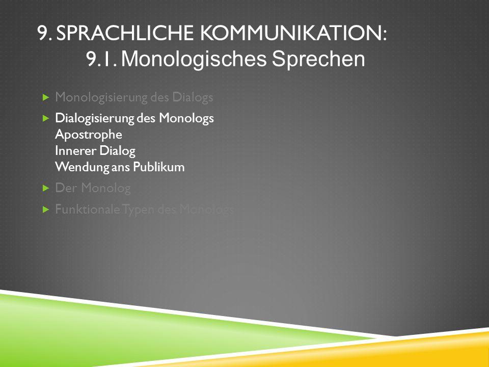 9. SPRACHLICHE KOMMUNIKATION: 9.1. Monologisches Sprechen Monologisierung des Dialogs Dialogisierung des Monologs Apostrophe Innerer Dialog Wendung an