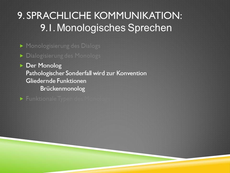 9. SPRACHLICHE KOMMUNIKATION: 9.1. Monologisches Sprechen Monologisierung des Dialogs Dialogisierung des Monologs Der Monolog Pathologischer Sonderfal