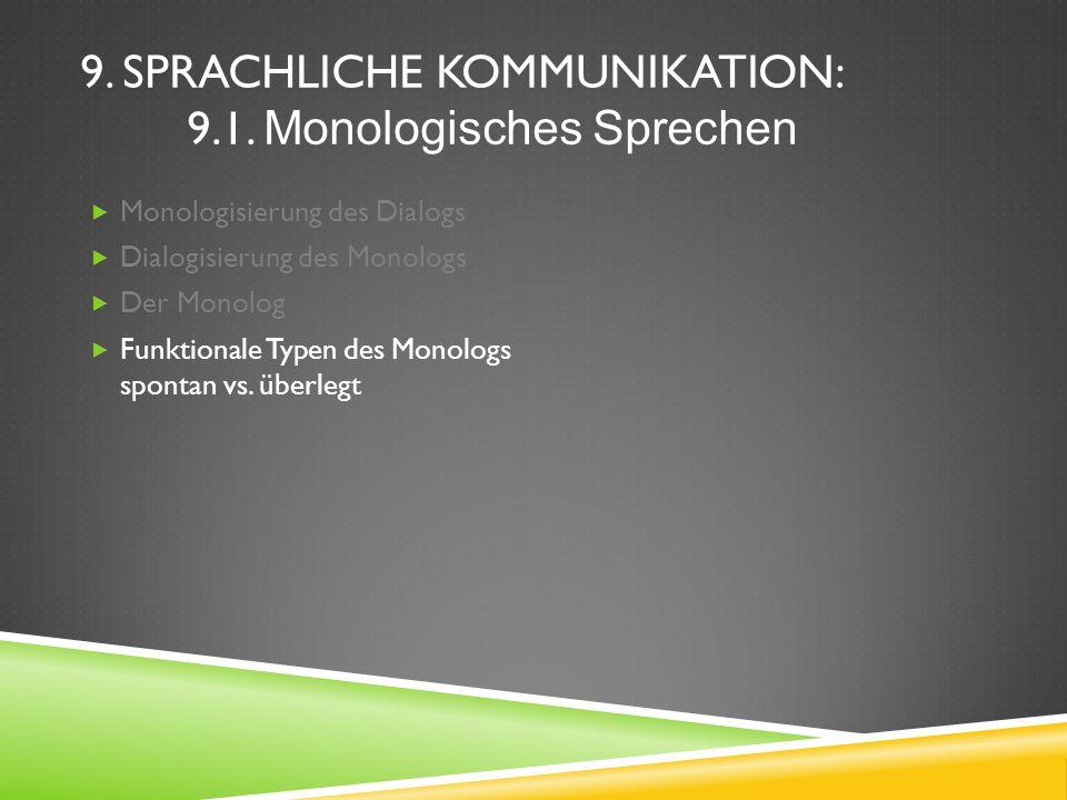 9. SPRACHLICHE KOMMUNIKATION: 9.1. Monologisches Sprechen Monologisierung des Dialogs Dialogisierung des Monologs Der Monolog Funktionale Typen des Mo