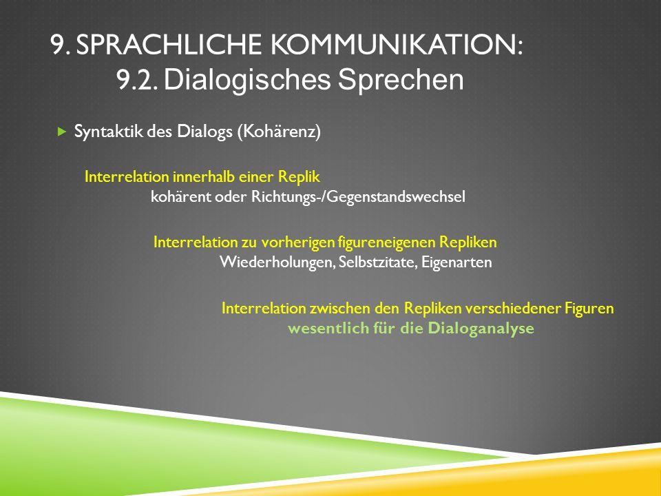 9. SPRACHLICHE KOMMUNIKATION: 9.2. Dialogisches Sprechen Syntaktik des Dialogs (Kohärenz) Interrelation innerhalb einer Replik kohärent oder Richtungs