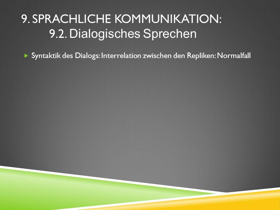 9. SPRACHLICHE KOMMUNIKATION: 9.2. Dialogisches Sprechen Syntaktik des Dialogs: Interrelation zwischen den Repliken: Normalfall