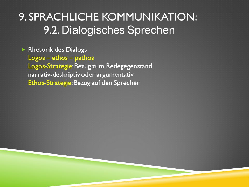9.SPRACHLICHE KOMMUNIKATION: 9.2.