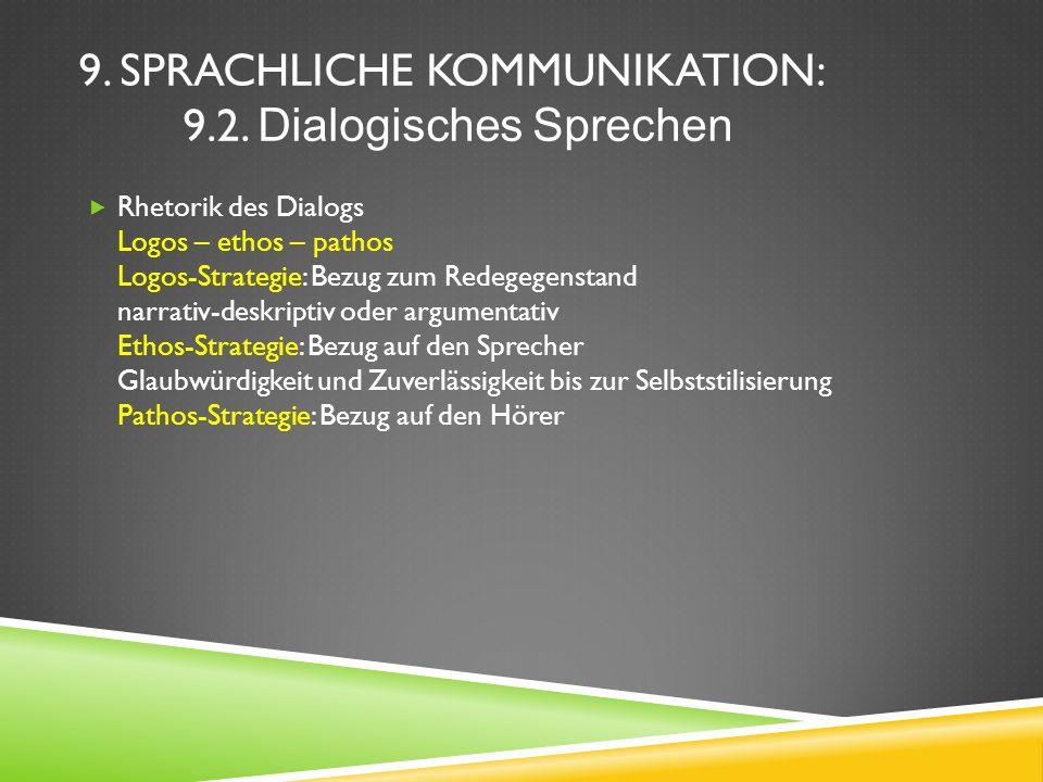 9. SPRACHLICHE KOMMUNIKATION: 9.2. Dialogisches Sprechen Rhetorik des Dialogs Logos – ethos – pathos Logos-Strategie: Bezug zum Redegegenstand narrati