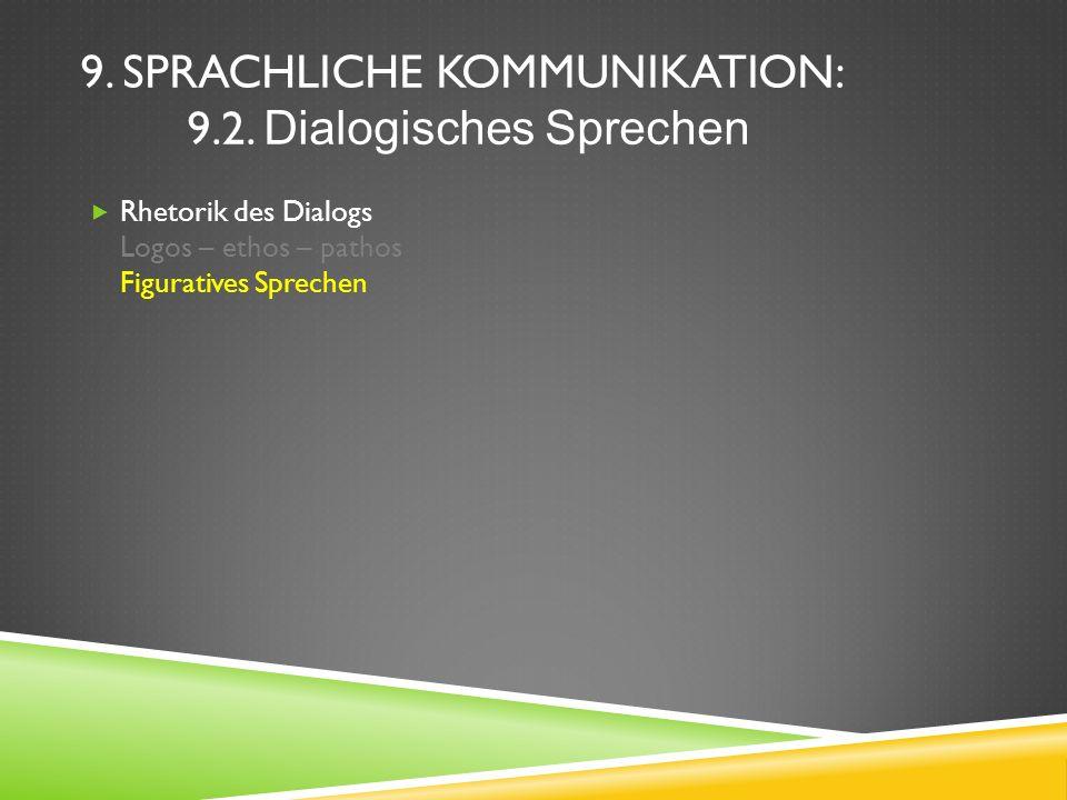 9. SPRACHLICHE KOMMUNIKATION: 9.2. Dialogisches Sprechen Rhetorik des Dialogs Logos – ethos – pathos Figuratives Sprechen