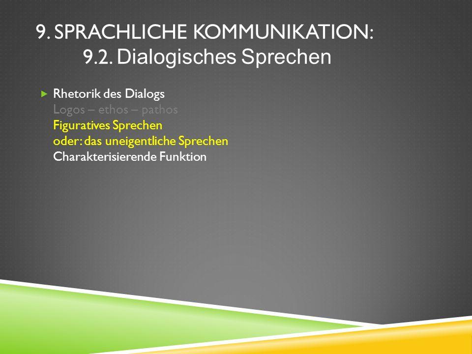9. SPRACHLICHE KOMMUNIKATION: 9.2. Dialogisches Sprechen Rhetorik des Dialogs Logos – ethos – pathos Figuratives Sprechen oder: das uneigentliche Spre