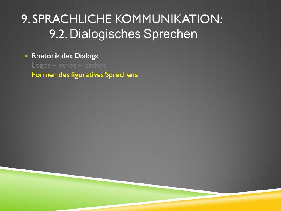9. SPRACHLICHE KOMMUNIKATION: 9.2. Dialogisches Sprechen Rhetorik des Dialogs Logos – ethos – pathos Formen des figuratives Sprechens