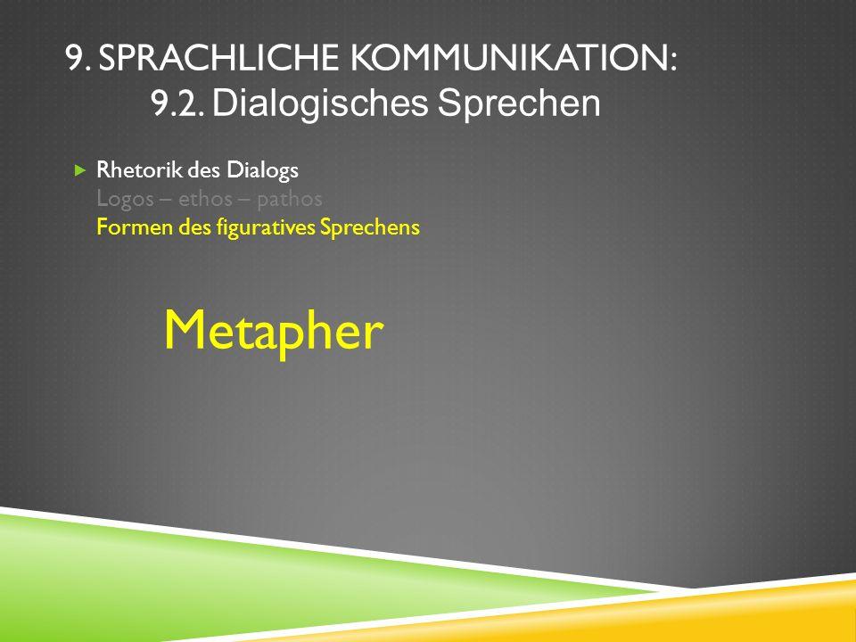 9. SPRACHLICHE KOMMUNIKATION: 9.2. Dialogisches Sprechen Rhetorik des Dialogs Logos – ethos – pathos Formen des figuratives Sprechens Metapher