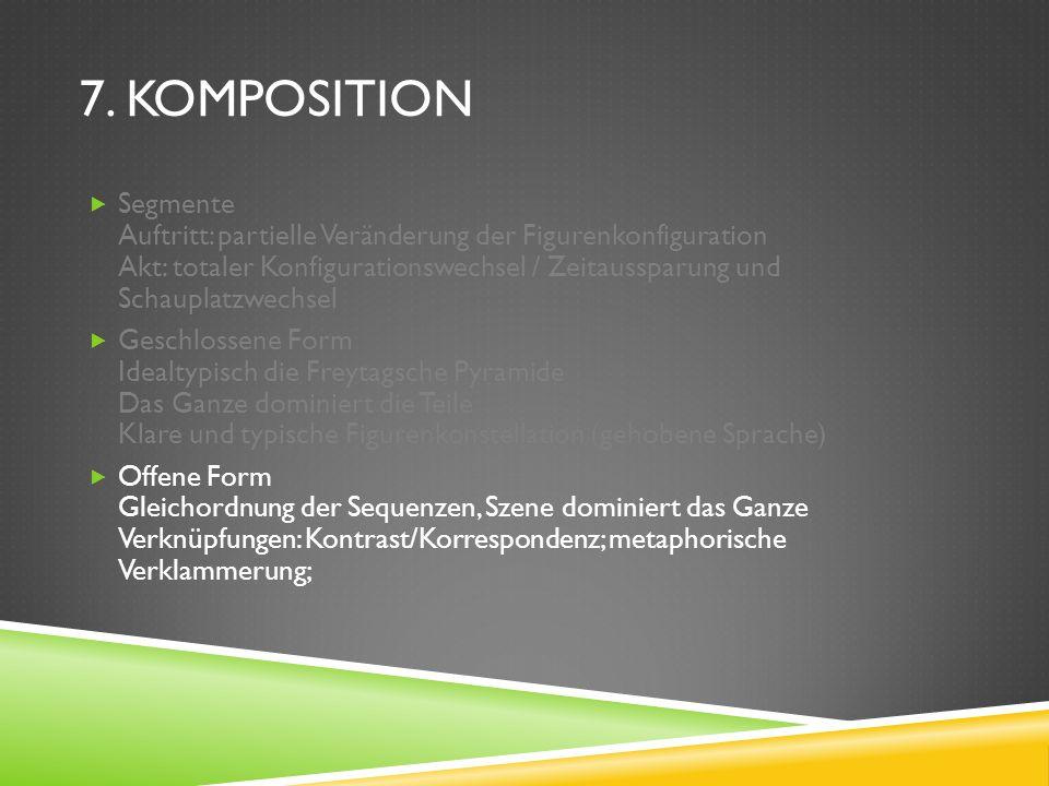 7. KOMPOSITION Segmente Auftritt: partielle Veränderung der Figurenkonfiguration Akt: totaler Konfigurationswechsel / Zeitaussparung und Schauplatzwec