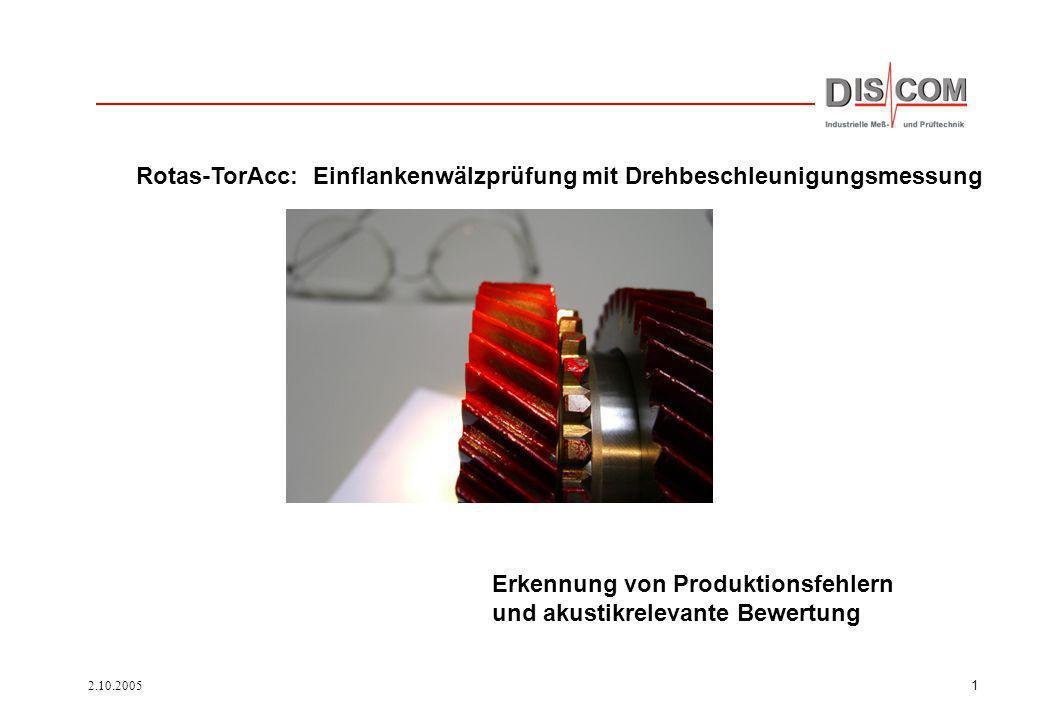 2.10.20051 Erkennung von Produktionsfehlern und akustikrelevante Bewertung Rotas-TorAcc: Einflankenwälzprüfung mit Drehbeschleunigungsmessung