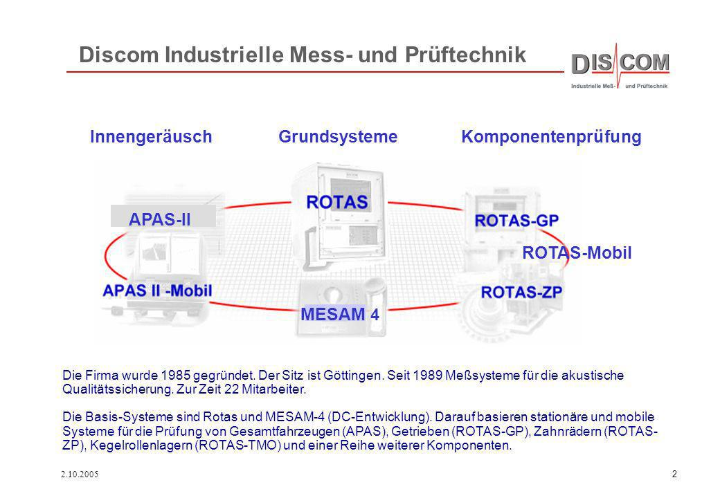 2.10.20052 Discom Industrielle Mess- und Prüftechnik Die Firma wurde 1985 gegründet. Der Sitz ist Göttingen. Seit 1989 Meßsysteme für die akustische Q