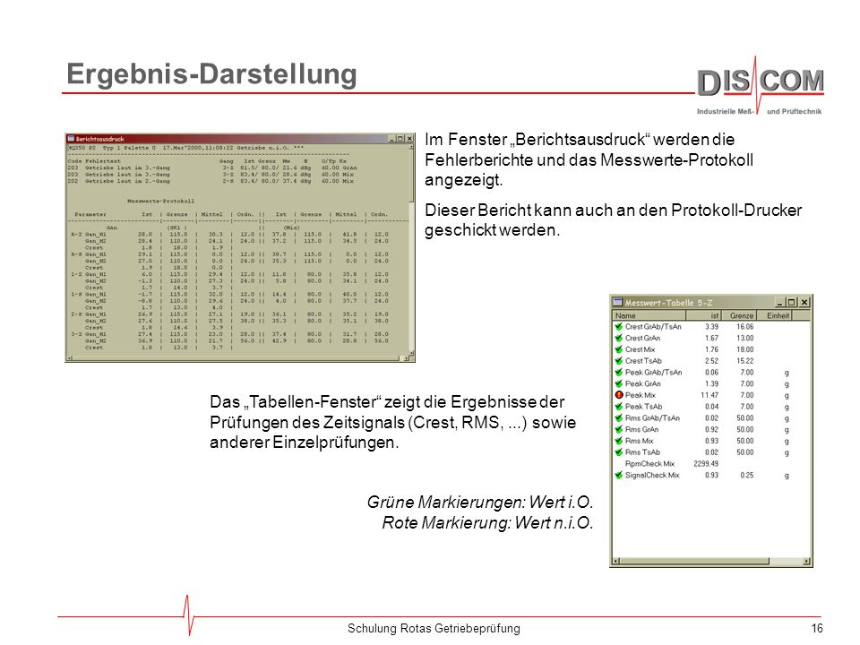15Schulung Rotas Getriebeprüfung Drehzahl Das Drehzahlinstrument zeigt die Antriebsdrehzahl an: Für die Umdrehungssynchrone Analyse ist eine korrekte