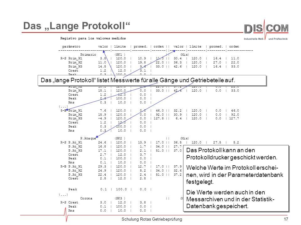 16Schulung Rotas Getriebeprüfung Ergebnis-Darstellung Im Fenster Berichtsausdruck werden die Fehlerberichte und das Messwerte-Protokoll angezeigt. Die
