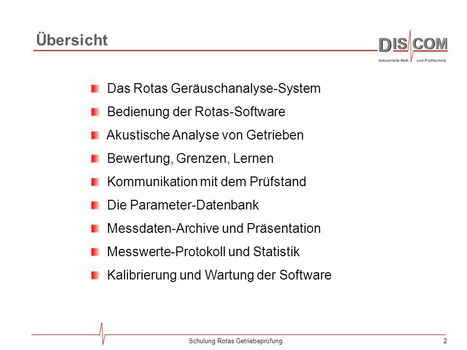 42Schulung Rotas Getriebeprüfung Typen und Prüfvorschriften Viele Parameter, wie z.B.