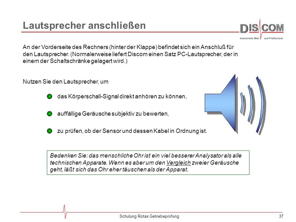 36Schulung Rotas Getriebeprüfung Überwachung der Kommunikation Um die serielle Kommunikation zu überwachen und die Eigenschaften der seriellen Schnitt