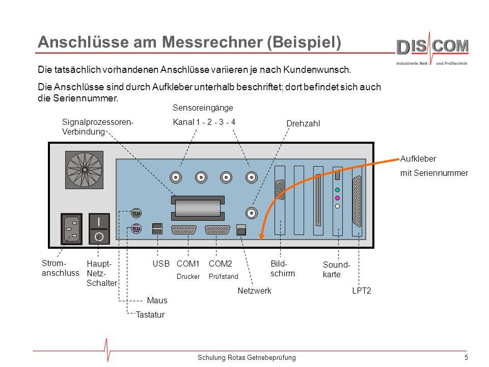 5Schulung Rotas Getriebeprüfung Anschlüsse am Messrechner (Beispiel) Strom- anschluss Haupt- Netz- Schalter Maus Tastatur USBCOM1 Drucker COM2 Prüfstand Sensoreingänge Kanal 1 - 2 - 3 - 4 Drehzahl Bild- schirm NetzwerkLPT2 Die tatsächlich vorhandenen Anschlüsse variieren je nach Kundenwunsch.