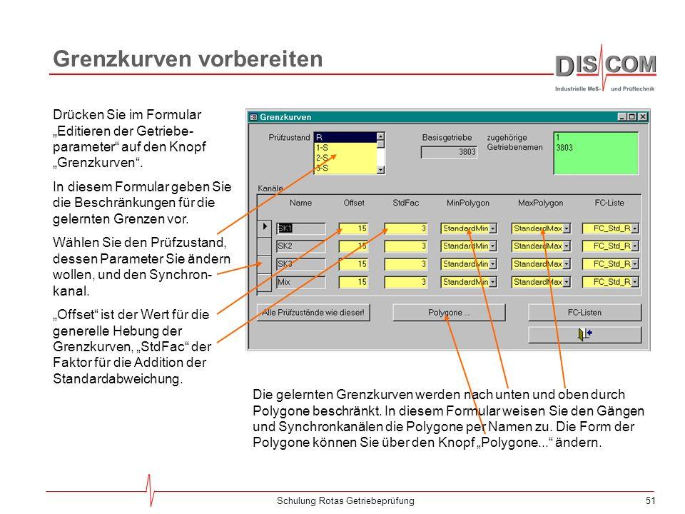 50Schulung Rotas Getriebeprüfung Grenzen Neu Lernen Spektral-Grenzen neu lernenCrest/RMS-Grenzen neu lernen Von der Werkzeugleiste des Messprogramms a