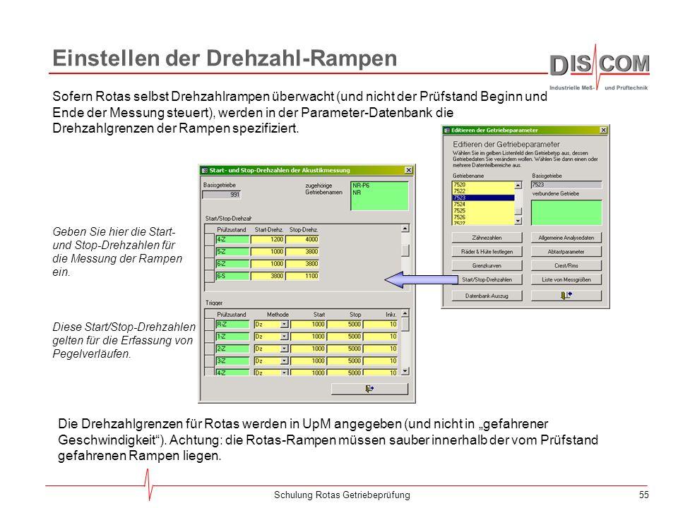 54Schulung Rotas Getriebeprüfung Grenzen für Crest und RMS Über den Knopf Crest/RMS im Formular Editieren der Getriebe- parameter können Sie die Besch
