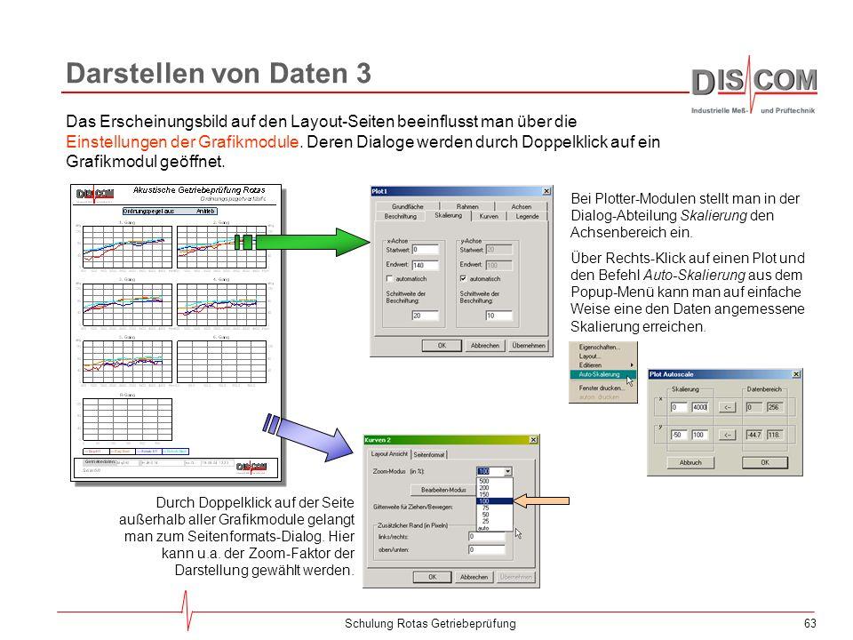 62Schulung Rotas Getriebeprüfung Darstellen von Daten 2 Dann muss einer Messgröße ein Grafikmodul zugeordnet werden... Dazu wählt man im Inhaltsbaum d