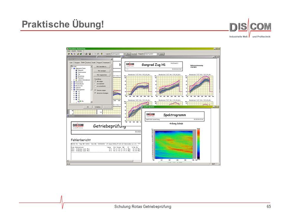 64Schulung Rotas Getriebeprüfung Automatisierte Dartsellung Das Darstellen von Daten innerhalb der Präsentation kann durch sogenannte Rapports automat