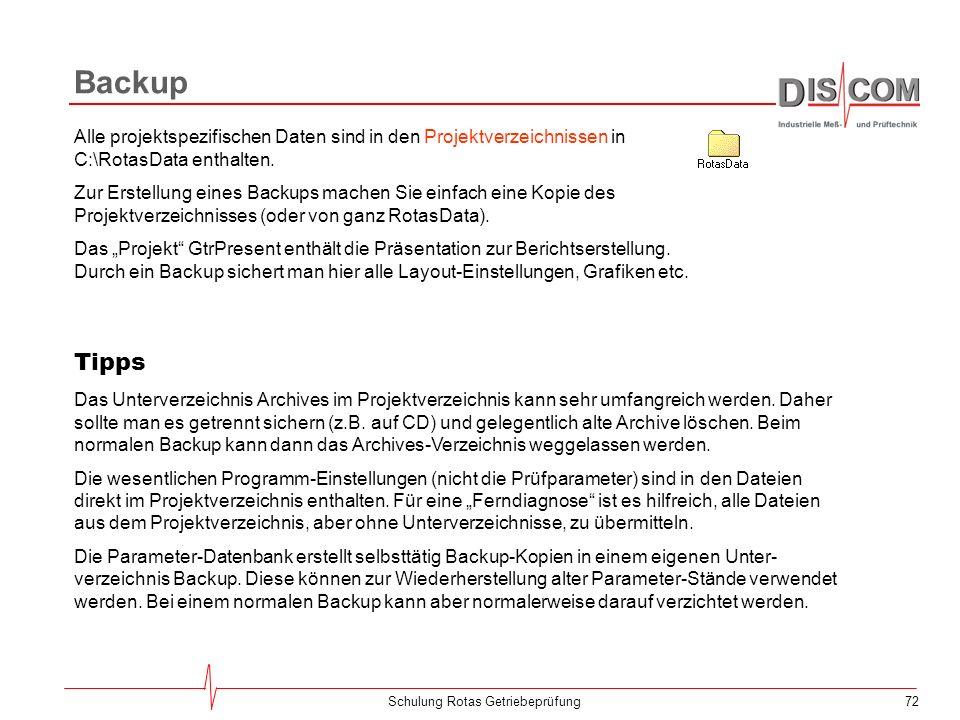 71Schulung Rotas Getriebeprüfung Software-Verzeichnisse Die Ordner lDisc und Mps32 enthalten die Software. Mps32 ist nicht immer vorhanden. Bei manche