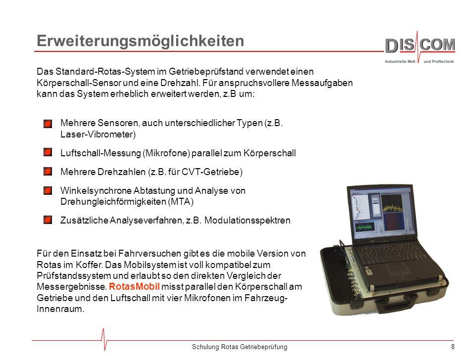 8Schulung Rotas Getriebeprüfung Erweiterungsmöglichkeiten Das Standard-Rotas-System im Getriebeprüfstand verwendet einen Körperschall-Sensor und eine Drehzahl.