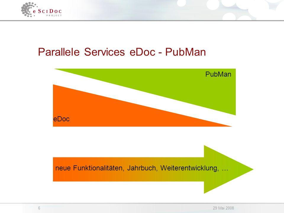 629 Mai 2008 Parallele Services eDoc - PubMan eDoc PubMan neue Funktionalitäten, Jahrbuch, Weiterentwicklung, …