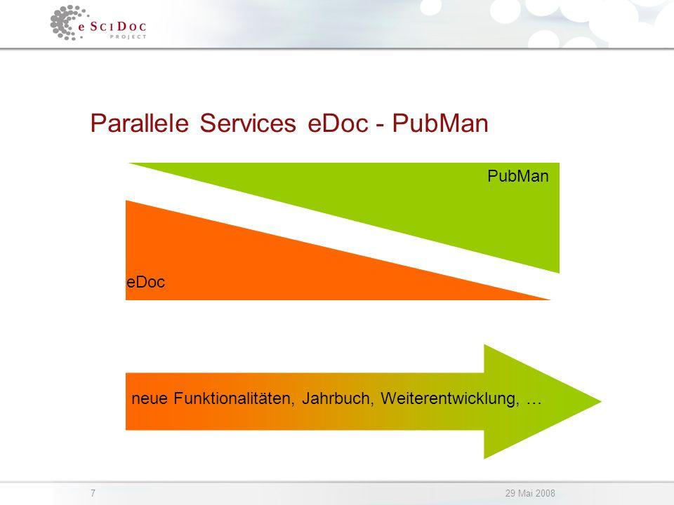 729 Mai 2008 Parallele Services eDoc - PubMan eDoc PubMan neue Funktionalitäten, Jahrbuch, Weiterentwicklung, …